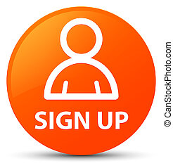 Sign up (member icon) orange round button