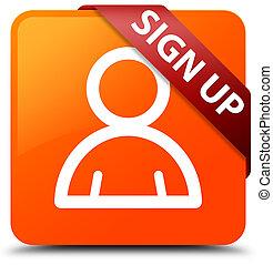 Sign up (member icon) orange square button red ribbon in corner