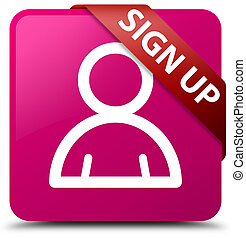 Sign up (member icon) pink square button red ribbon in corner