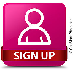 Sign up (member icon) pink square button red ribbon in middle