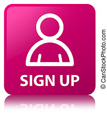 Sign up (member icon) pink square button