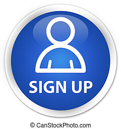 Sign up (member icon) premium blue round button