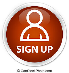 Sign up (member icon) premium brown round button