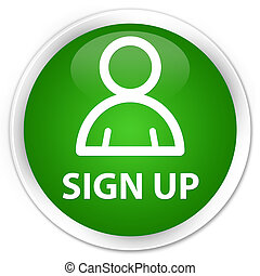 Sign up (member icon) premium green round button