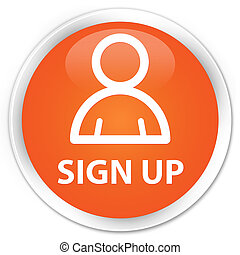 Sign up (member icon) premium orange round button
