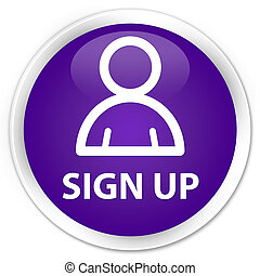 Sign up (member icon) premium purple round button