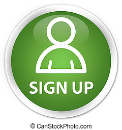 Sign up (member icon) premium soft green round button
