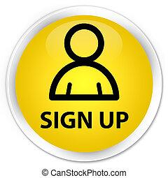 Sign up (member icon) premium yellow round button