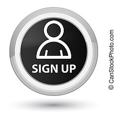 Sign up (member icon) prime black round button