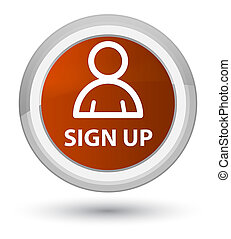 Sign up (member icon) prime brown round button