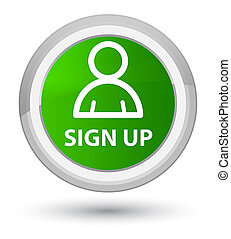Sign up (member icon) prime green round button