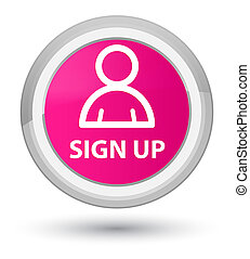 Sign up (member icon) prime pink round button