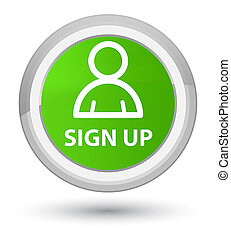 Sign up (member icon) prime soft green round button