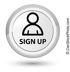 Sign up (member icon) prime white round button