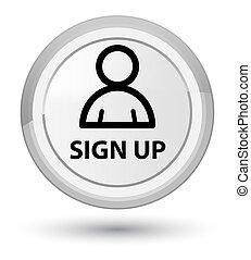 Sign up (member icon) prime white round button