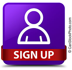 Sign up (member icon) purple square button red ribbon in middle