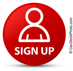 Sign up (member icon) red round button
