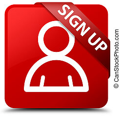 Sign up (member icon) red square button red ribbon in corner