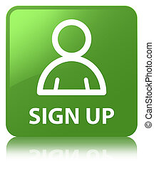 Sign up (member icon) soft green square button