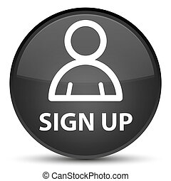 Sign up (member icon) special black round button