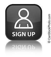 Sign up (member icon) special black square button