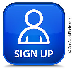 Sign up (member icon) special blue square button