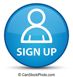 Sign up (member icon) special cyan blue round button