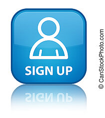 Sign up (member icon) special cyan blue square button