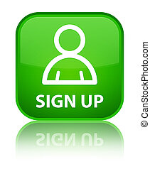 Sign up (member icon) special green square button