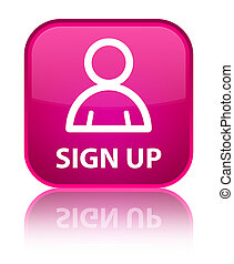 Sign up (member icon) special pink square button