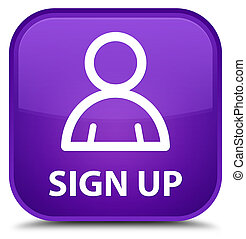 Sign up (member icon) special purple square button