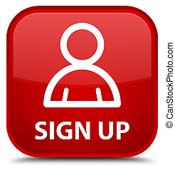 Sign up (member icon) special red square button