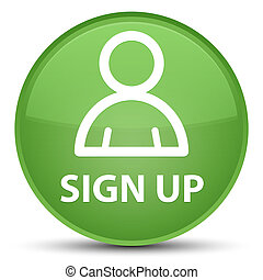 Sign up (member icon) special soft green round button
