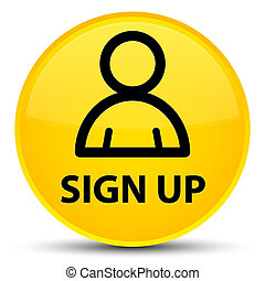 Sign up (member icon) special yellow round button
