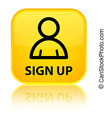 Sign up (member icon) special yellow square button