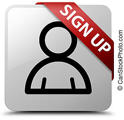 Sign up (member icon) white square button red ribbon in corner