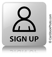 Sign up (member icon) white square button