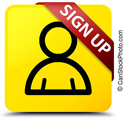 Sign up (member icon) yellow square button red ribbon in corner