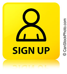 Sign up (member icon) yellow square button