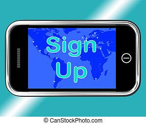 Sign Up Mobile Message Showing Online Registration