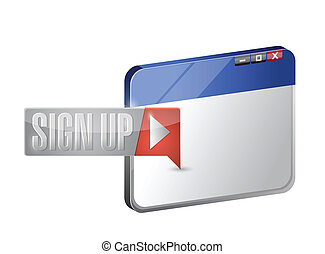 sign up now button and browser illustration