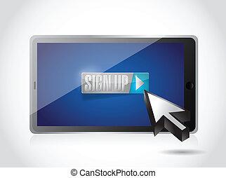 sign up on tablet. illustration design