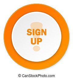 sign up orange circle 3d modern design flat icon on white background