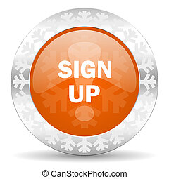 sign up orange icon, christmas button