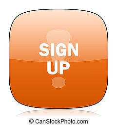 sign up orange square web design glossy icon