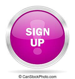 sign up pink modern web design glossy circle icon