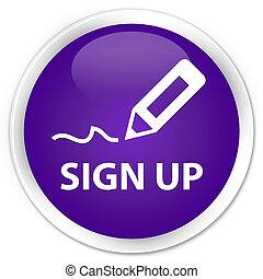 Sign up premium purple round button