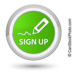Sign up prime soft green round button