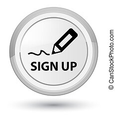 Sign up prime white round button