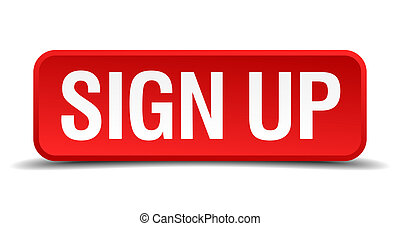 Sign up red 3d square button isolated on white